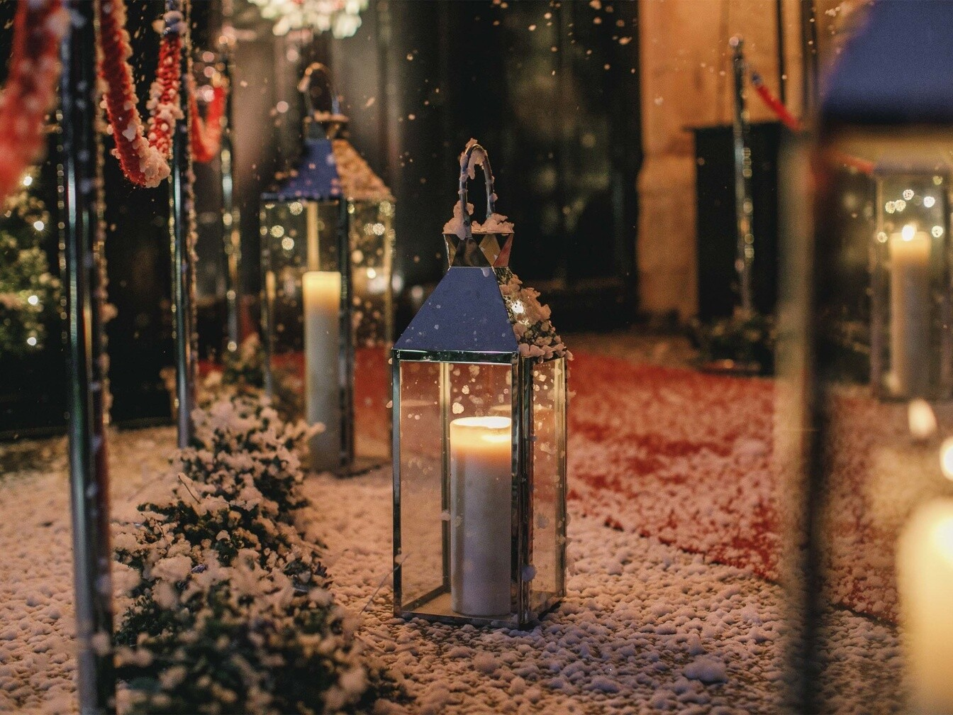 Christmas entrance lantern candle