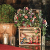 apple crates flowers candle