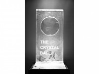 Crystal ball ice sculpture