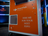 Prize crane branding Clownfish Events Games Hire
