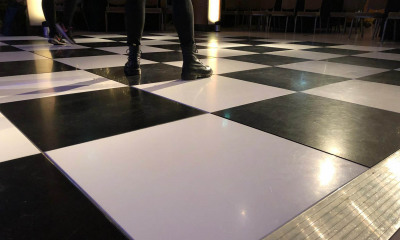 Black and white dancefloor event hire